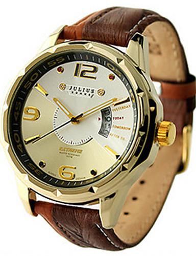 Pánské Módní hodinky Křemenný Kalendář Voděodolné Kůže Kapela Na běžné nošení Černá Červená Hnědá Zelená