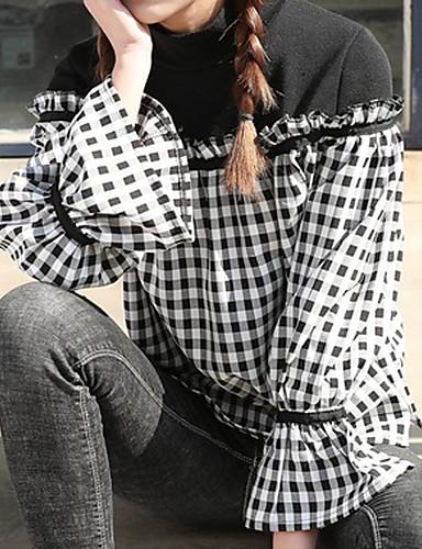 Damen Schachbrett Einfach Lässig/Alltäglich Hemd,Hemdkragen Langarm Polyester