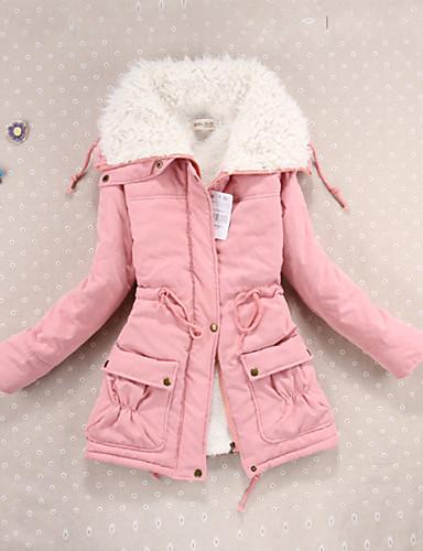 Damen Gefüttert Mantel,Standard Einfach Niedlich Solide-Baumwolle Baumwolle Langarm