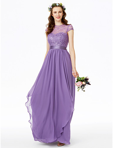 A-Line Jewel Neck Floor Length Chiffon / Floral Lace Bridesmaid Dress with Bow(s) / Lace / Sash / Ribbon by LAN TING BRIDE®