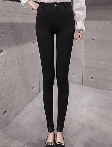 Dámské Šik ven strenchy Kalhoty chinos Kalhoty Vypasovaný Mid Rise Jednobarevné