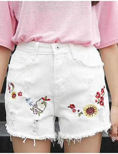 Damen Street Schick Mittlere Hüfthöhe Mikro-elastisch Jeans Kurze Hosen Breites Bein Hose Druck
