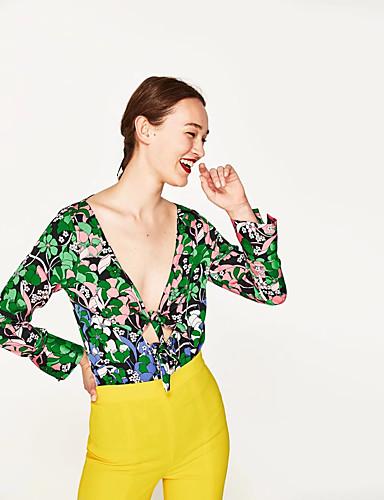 Damen Druck Lässig/Alltäglich Ausgehen Einfach Sexy Street Schick Jumpsuit Langärmelige Tiefes V Frühling Sommer