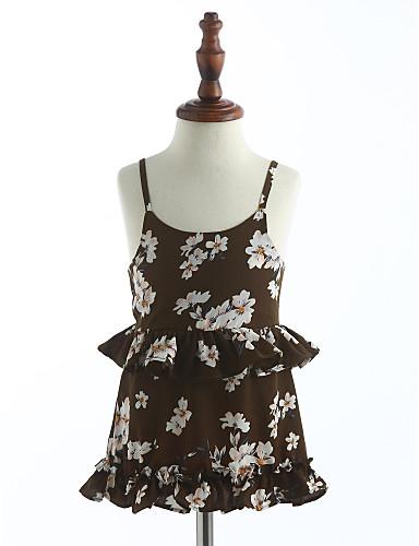 Mädchen Kleid Gitter Baumwolle Sommer Ärmellos Blumig Grün