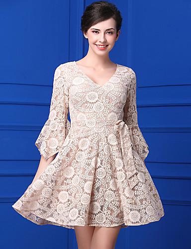 Damen Spitze Kleid-Lässig/Alltäglich Einfach Jacquard V-Ausschnitt Knielang ¾-Arm Spitze Sommer Mittlere Hüfthöhe Unelastisch Mittel