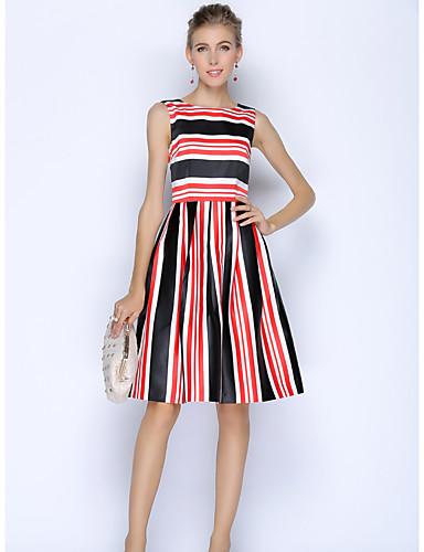Damen A-Linie Kleid-Arbeit Einfach Geometrisch Rundhalsausschnitt Knielang Ärmellos Polyester Sommer Hohe Hüfthöhe Unelastisch Dünn