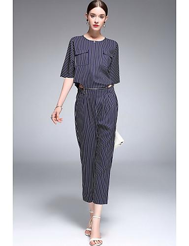 Damen Gestreift Niedlich Ausgehen Lässig/Alltäglich Shirt Hose Anzüge,Rundhalsausschnitt Frühling Sommer Halbe Ärmel Mikro-elastisch