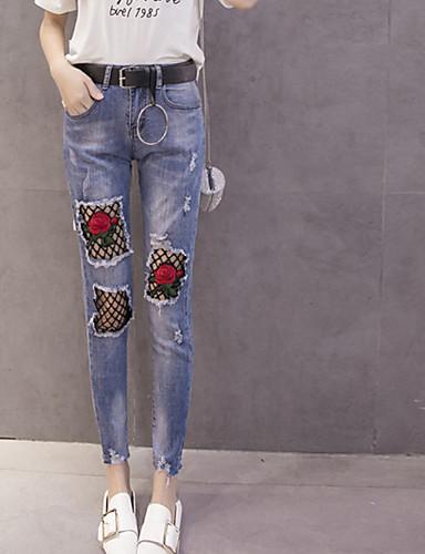 Damen Einfach Mittlere Hüfthöhe strenchy Jeans Gerade Hose einfarbig