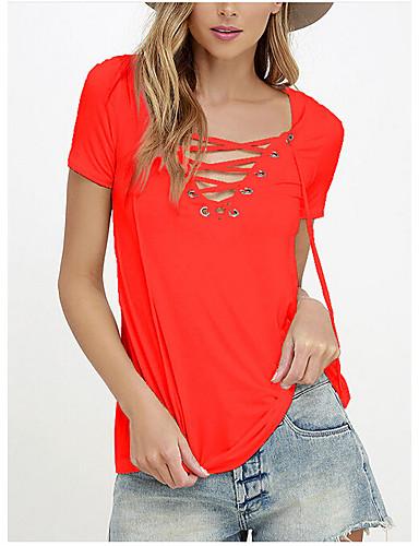 Damen Solide Einfach Ausgehen Lässig/Alltäglich T-shirt,Rundhalsausschnitt Sommer Kurzarm Baumwolle Undurchsichtig
