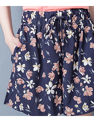 Mulheres Cintura Alta Solto Shorts Calças Estampado