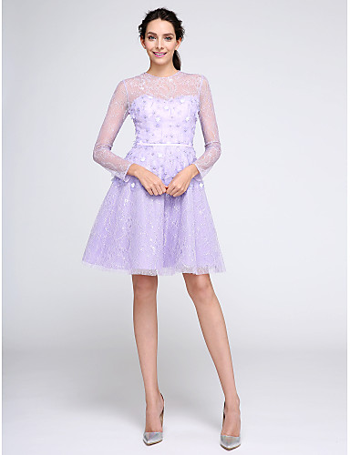 A-Line / Fit & Flare Illusion Neck Knee Length Lace Cocktail Party / Homecoming / Prom Dress with Lace / Flower by TS Couture®