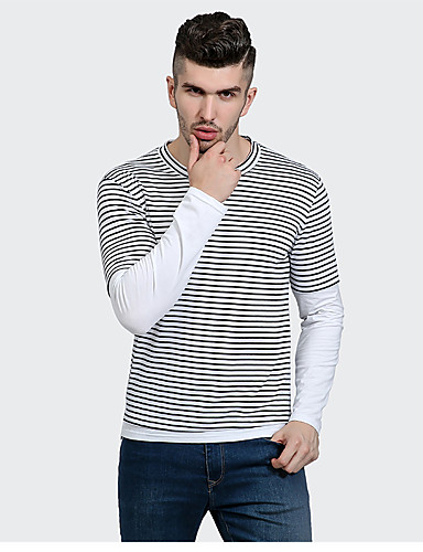 Men's Daily Casual Spring Fall T-shirt,Striped Round Neck Long Sleeves Cotton Polyester Medium