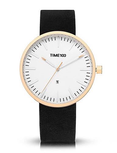Men's Fashion Watch Quartz Genuine Leather Band Black Grey
