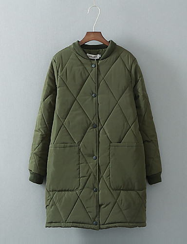 Women's Regular Padded Coat,Simple Street chic Going out Casual/Daily Solid-Polyester Cotton Long Sleeves