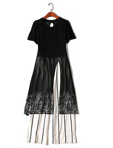 Mikroelastisk Kortermet,Rund hals T-skjorte Bukse Drakter Stripet Sommer Enkel Fritid/hverdag Dame