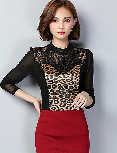 Mulheres Tamanhos Grandes Camiseta Leopardo Raiom Poliéster Colarinho Chinês