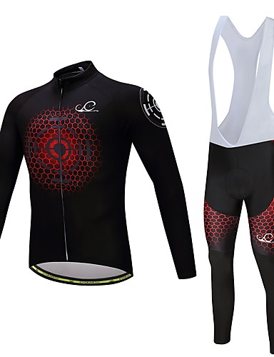 cheap Cycling Clothing-Men's Women's Long Sleeve Cycling Jersey with Bib Tights Bike Clothing Suit Quick Dry Sports Polyester Spandex Silicon Honeycomb Mountain Bike MTB Road Bike Cycling Clothing Apparel / Lycra