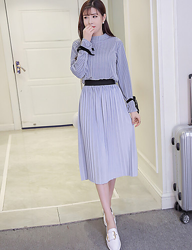 Women's Daily Casual Casual Summer T-shirt Skirt Suits,Solid Round Neck Long Sleeve 100%Wool