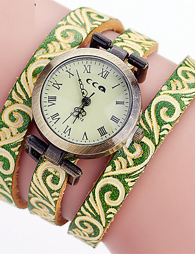 Women's Unique Creative Watch Bracelet Watch Casual Watch Chinese Quartz Leather Band Charm Casual Elegant Black Red Green Yellow