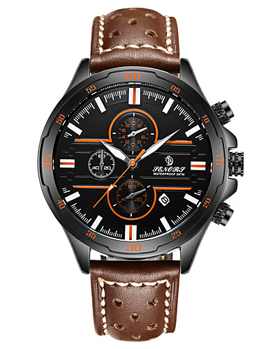 Men's Sport Watch Japanese Calendar / date / day / Water Resistant / Water Proof Genuine Leather Band Fashion Brown