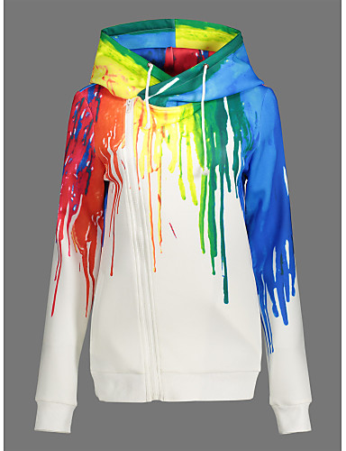 Women's Daily Sports Hoodie Print Hooded Inelastic Polyester Long Sleeve Fall