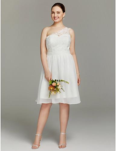Linha A Assimétrico Até os Joelhos Chiffon Renda Vestido de casamento com Caixilhos / Fitas de LAN TING BRIDE®