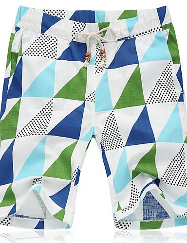 Men's Simple Active Plus Size Cotton Linen Loose Shorts Pants - Geometric