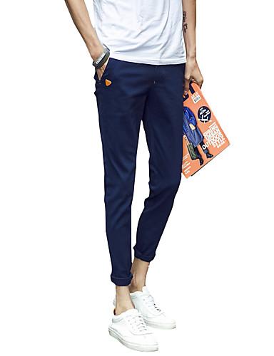 Men's Mid Rise Micro-elastic Skinny Slim Chinos Pants,Simple Chinoiserie Solid
