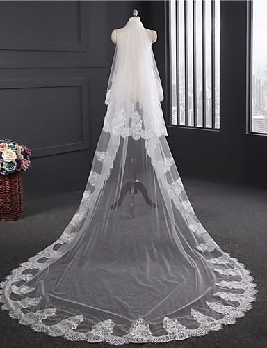 Two-tier Lace Applique Edge Wedding Veil Chapel Veils 53 Satin Flower Embroidery Lace Tulle