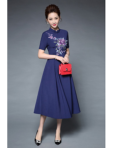 Women's Party Vintage Street chic Chinoiserie Sheath Swing Dress,Embroidered Stand Midi Short Sleeves Polyester Summer High Rise Inelastic