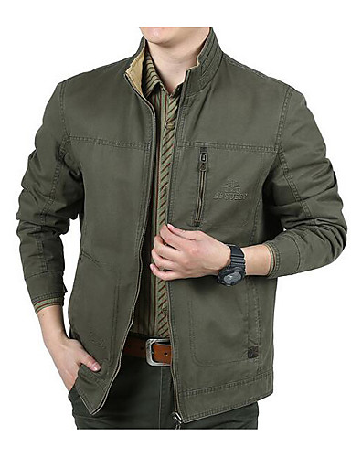 Men's Daily Simple Casual Winter Fall Jacket,Solid Stand Long Sleeve Regular Cotton