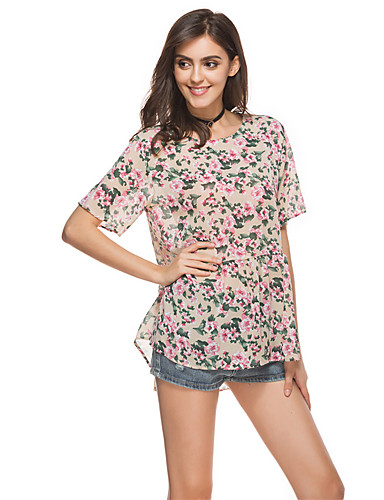 Women's Daily Holiday Going out Cute Casual Street chic Summer T-shirt,Floral Round Neck Half Sleeves Polyester Thin