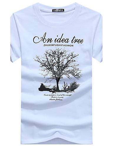 voordelige Heren T-shirts & tanktops-Heren Print T-shirt Katoen Grafisch Ronde hals Wit / Korte mouw / Zomer