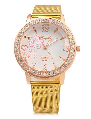 Mulheres Relógio de Moda Chinês Quartzo Mostrador Grande Metal Banda Luxo Brilhante Dourada