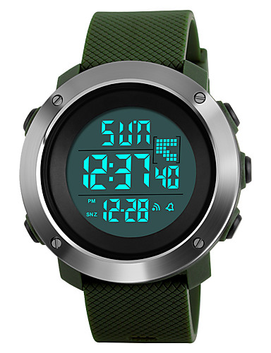 SKMEI Homens Relógio Esportivo / Relógio Militar / Relógio de Pulso Japanês Alarme / Calendário / Cronógrafo PU Banda Fashion Preta / Verde / Cinza / Aço Inoxidável / Impermeável / Cronômetro