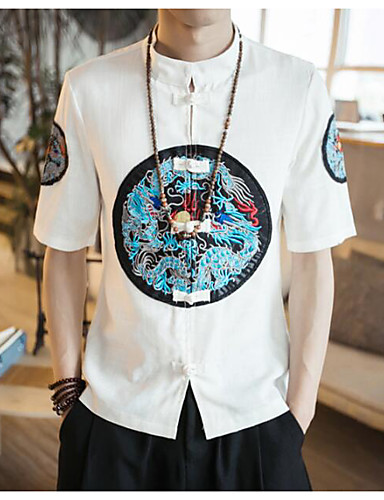 Men's Casual/Daily Work Simple Shirt,Solid Print Stand Short Sleeves Linen Others