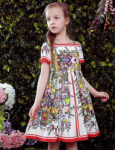 Girl's Floral Dress Short Sleeves Floral Red