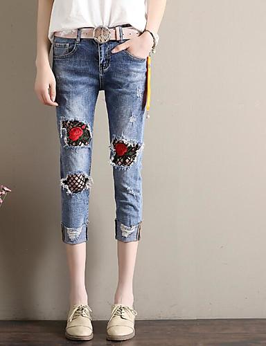 Women's Medium Waist Micro-elastic Skinny Pants,Street chic Skinny Embroidery
