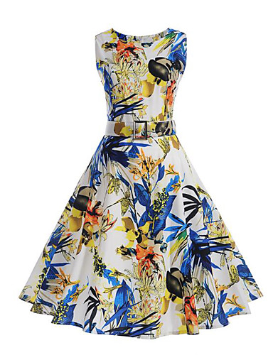 Women's Vintage Street chic Sheath Swing Dress Pleated Print High Rise