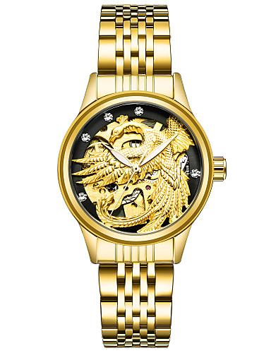 Mulheres relógio mecânico Relógio de Pulso Relógio de Moda Chinês Mecânico - de dar corda manualmente Aço Inoxidável Banda Dourada