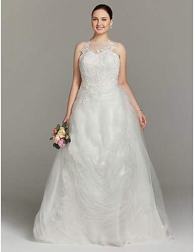 A-Line Illusion Neckline Floor Length Tulle Wedding Dress with Appliques Tiered by LAN TING BRIDE®