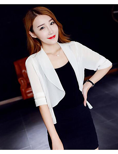 Women's Daily Others Summer Trench Coat,Solid Shawl Lapel 3/4 Length Sleeve Short Chiffon