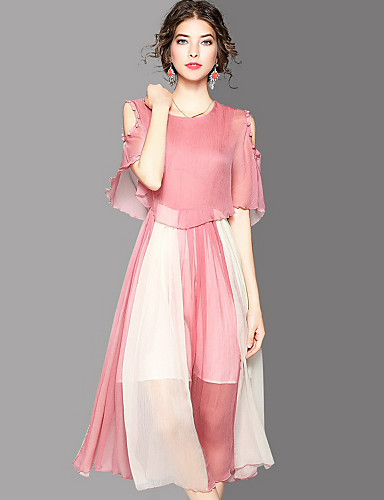 Women's Going out Cute Sheath Dress,Color Block Round Neck Midi Half Sleeves Polyester Summer Mid Rise Micro-elastic Medium