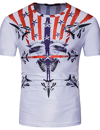 Men's Casual/Daily Simple Summer T-shirt,Print Round Neck Short Sleeves Polyester Thin