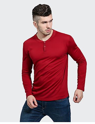 Herren Solide Street Schick Lässig/Alltäglich T-shirt,V-Ausschnitt Langarm Polyester