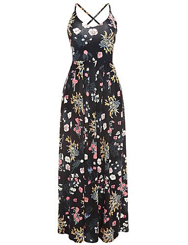 Naisten Boheemi Tuppi Mekko - Kukka Color Block Seksikäs, Vintage tyyli Ristiin rastiin Kukka-aiheen tyyli Korkea vyötärö Olkaimellinen