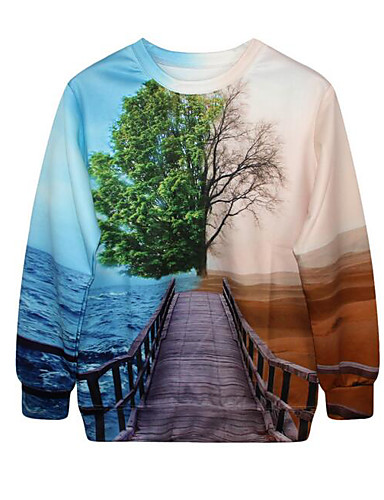 Women's Going out Sweatshirt 3D Print Round Neck Micro-elastic Others Long Sleeve Spring Fall