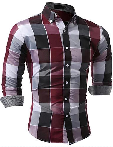 Homens Camisa Social Temática Asiática Fashion Estampado Côr Misturada, Xadrez Moderno