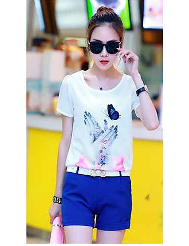 Women's Casual Cotton T-shirt - Solid Colored Pant / Summer