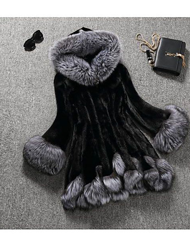 Women's Daily Going out Street chic Winter Coat,Solid Hooded Long Sleeve Regular Faux Fur